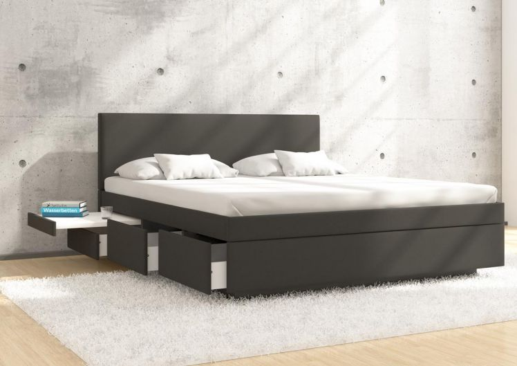 silverline Boxspring Wasserbett Stuttgart mit 6 Schubladen, integrierter Nachttisch